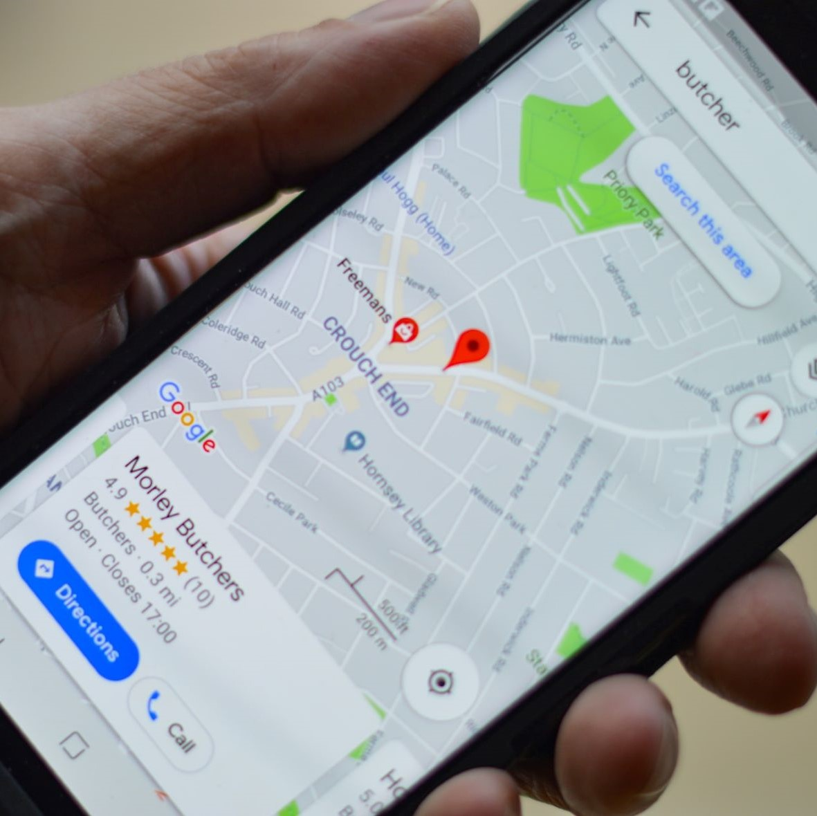 Google maps app on an Android device with the option of users to select the directions button.